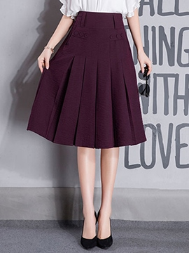 Ericdress Pleated Knee-Length Plain Usual Skirts