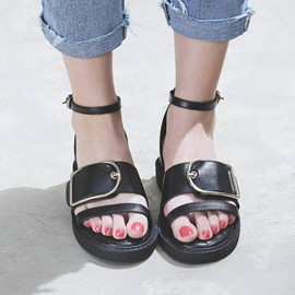 Ericdress Open Toe Platform Flat Sandals with Buckle