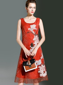 Ericdress Embroidery Sleeveless Print Casual Dress