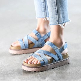 Ericdress Open Toe Strappy Platform Flat Sandals