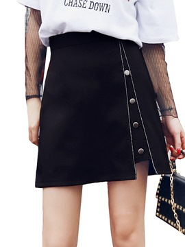 Ericdress Asymmetric Button Usual Skirts