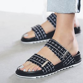 Platform Plaid Velcro Women's Slide Sandals