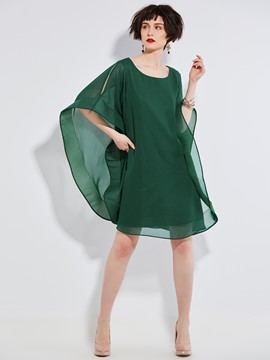 Ericdress Batwing Sleeve Plain Scoop Casual Dress