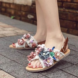 Ericdress Denim Open Toe Flat Sandals