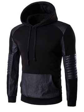 Ericdress Solid Color Patchwork Vogue Slim Fit Men's Hoodie