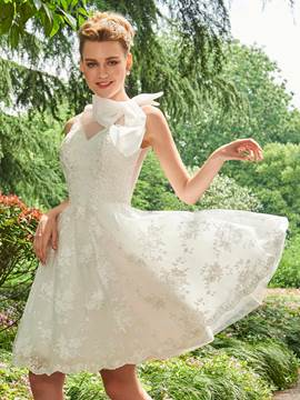 Ericdress Knee Length Lace A Line Wedding Dress