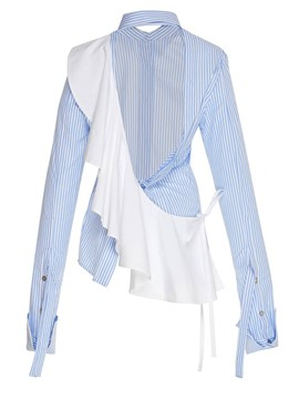 Ericdress Patchwork Ruffles Stripe Lapel Blouse