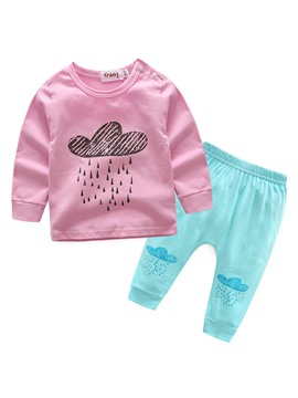Ericdress Rain Cloud Printed Lovely Baby Girls Outfit Set
