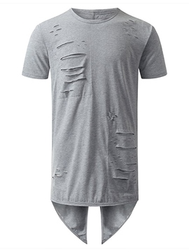 Ericdress Back Slit Unique Holes Casual Men's T-Shirt