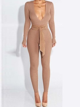 Ericdress Deep V-Neck Tight Lace-Up Jumpsuits Pants