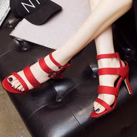 Ericdress Open Toe Plain Stiletto Sandals with Buckle