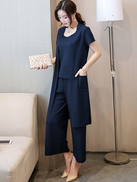 Ericdress Short Sleeve Wide Legs Pure Color Suits