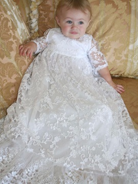 Ericdress Jewel Lace A Line Half Sleeves Baby Christening Dress