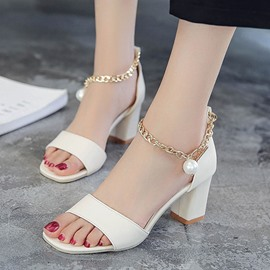 Ericdress Open Toe Chunky Sandals with Beads
