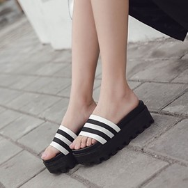 Ericdress Flip Flop Stripe Platform Mules Shoes