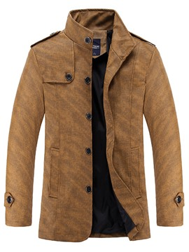 Ericdress Stand Collar Single-Breasted Slim Men's PU Jacket