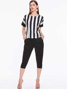 Ericdress Stripe T-Shirt and Mid-Calf Pants Women's Suit