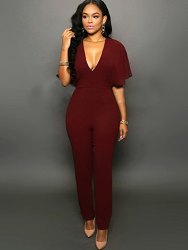 Ericdress V-Neck Backless Jumpsuits Pants