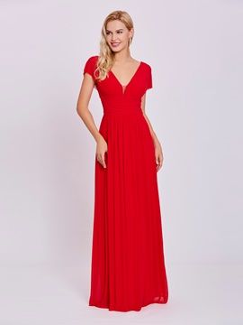 Ericdress V Neck Zipper-Up A Line Evening Dress