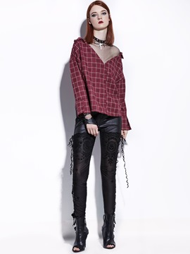 Ericdress Loose Mesh Plaid Patchwork Blouse