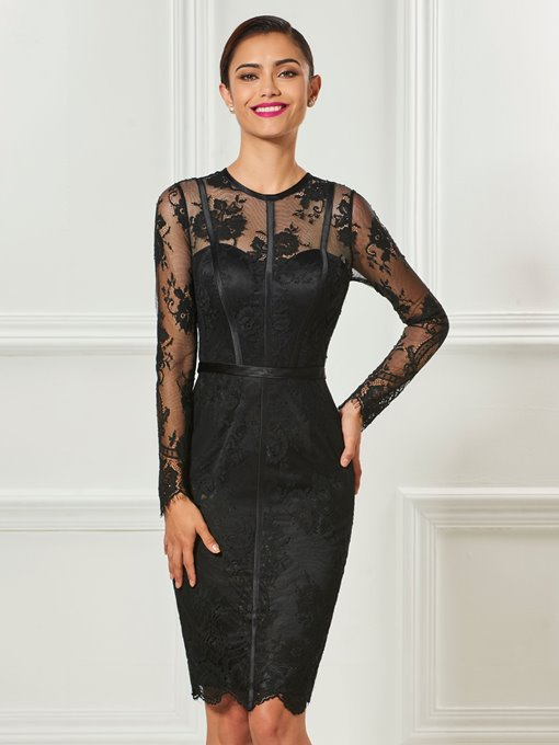 Ericdress Sheath Long Sleeve Lace Short Cocktail Dress With Button Back