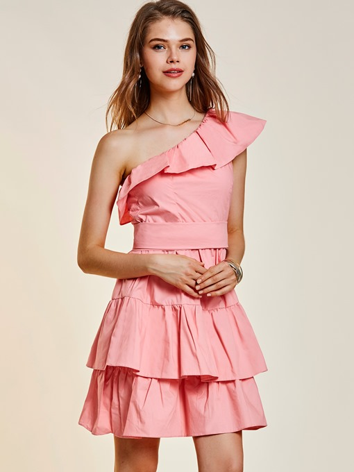 Ericdress One-Shoulder Falbala Patchwork Women's Layered Dress