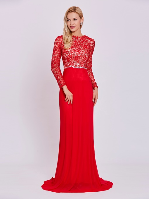 Ericdress Scoop Neck Long Sleeves Lace A Line Evening Dress