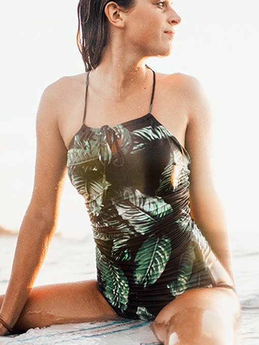 Ericdress Leaf Print Lace-Up Backless Monokini