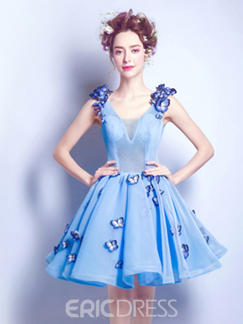 Ericdress A Line Short Flower Applique Homecoming Dress With Lace-Up Back
