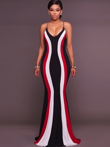 Ericdress Spaghetti Strap Color Block Mermaid Maxi Dress