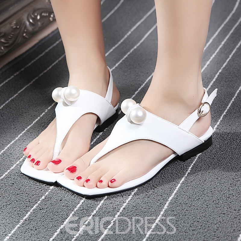 Ericdress Thong Slingback Strap Flat Sandals with Beads