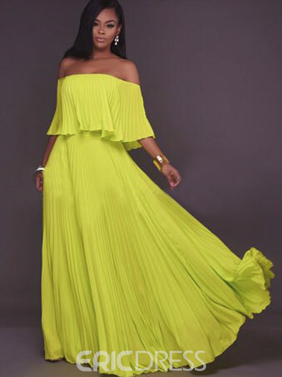 Ericdress Slash Neck Solid Color Expansion Maxi Dress