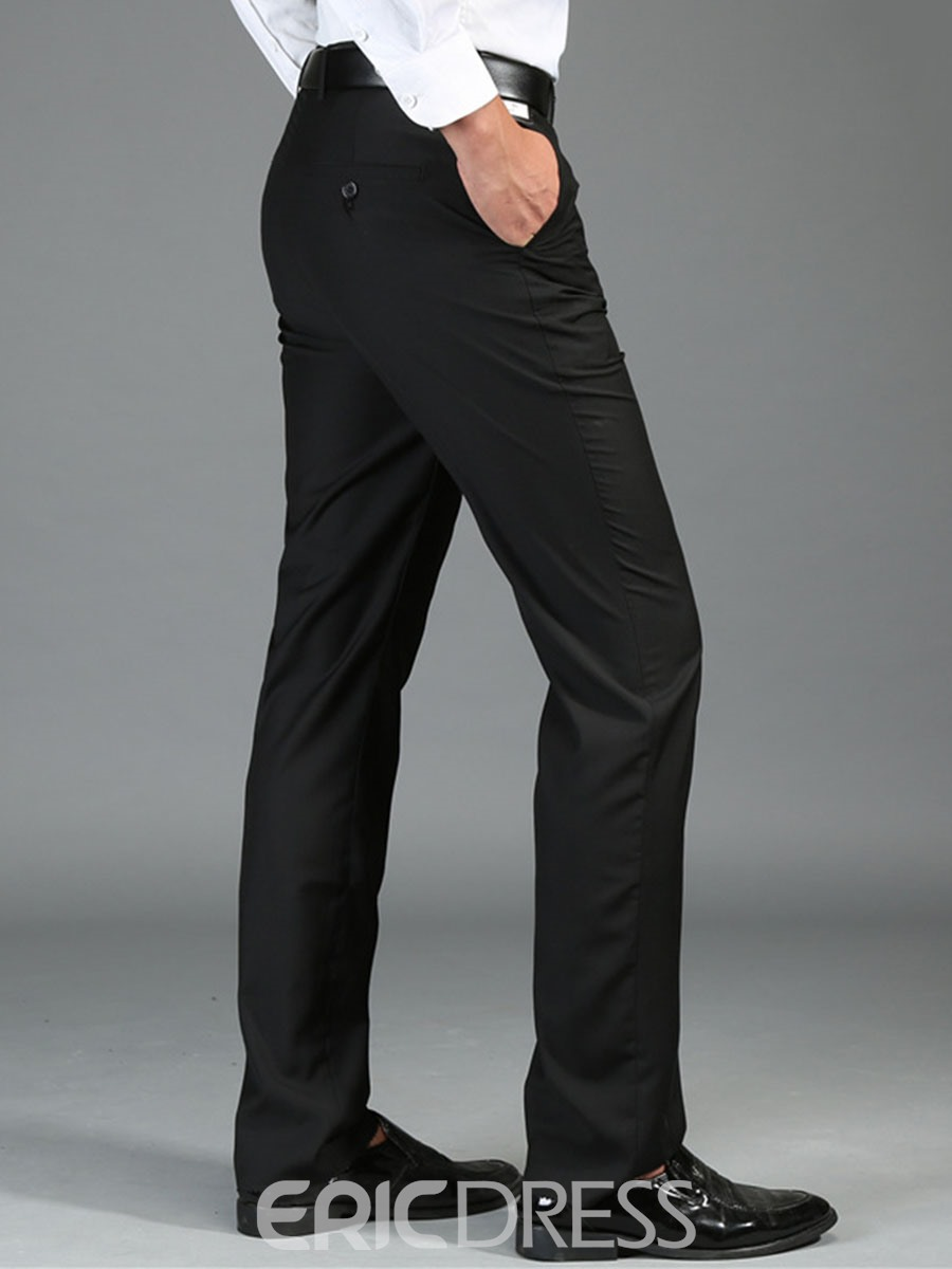 Ericdress Business Plain Pocket Straight Slim Men's Pants