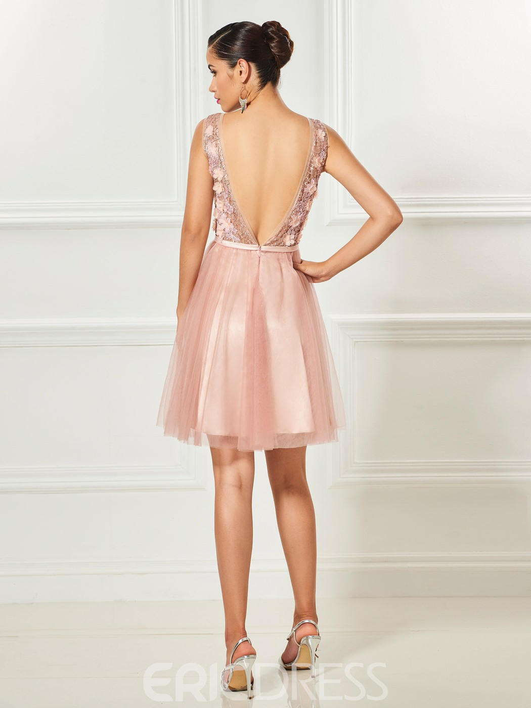 Ericdress A Line Applique Backless Cocktail Dress