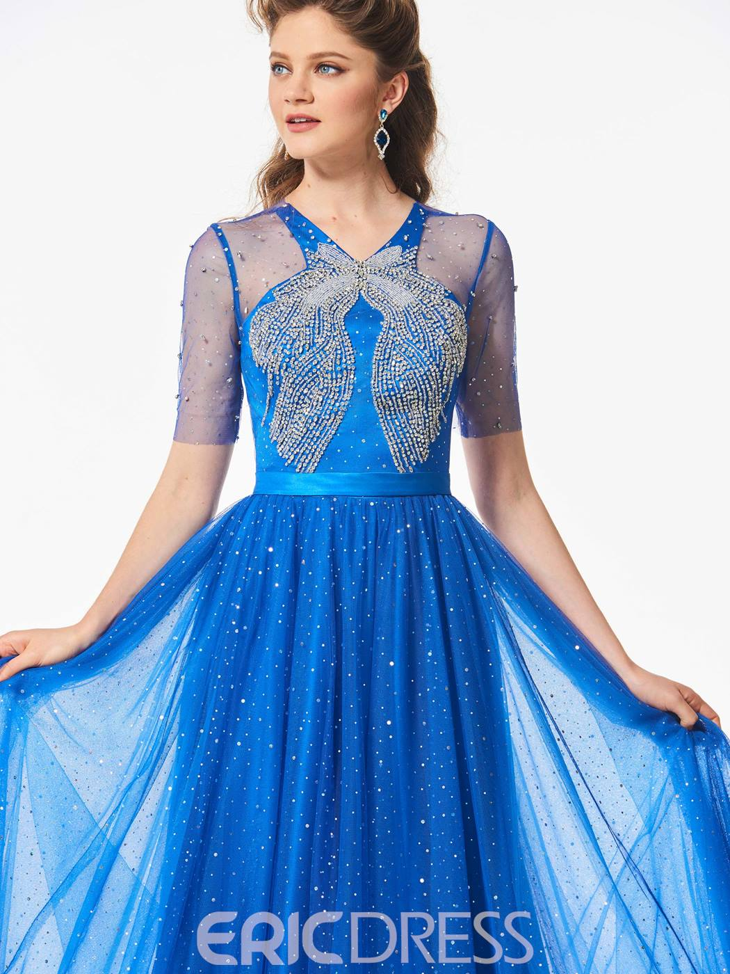 Ericdress Delicate A Line Short Sleeve Beaded Long Prom Dress