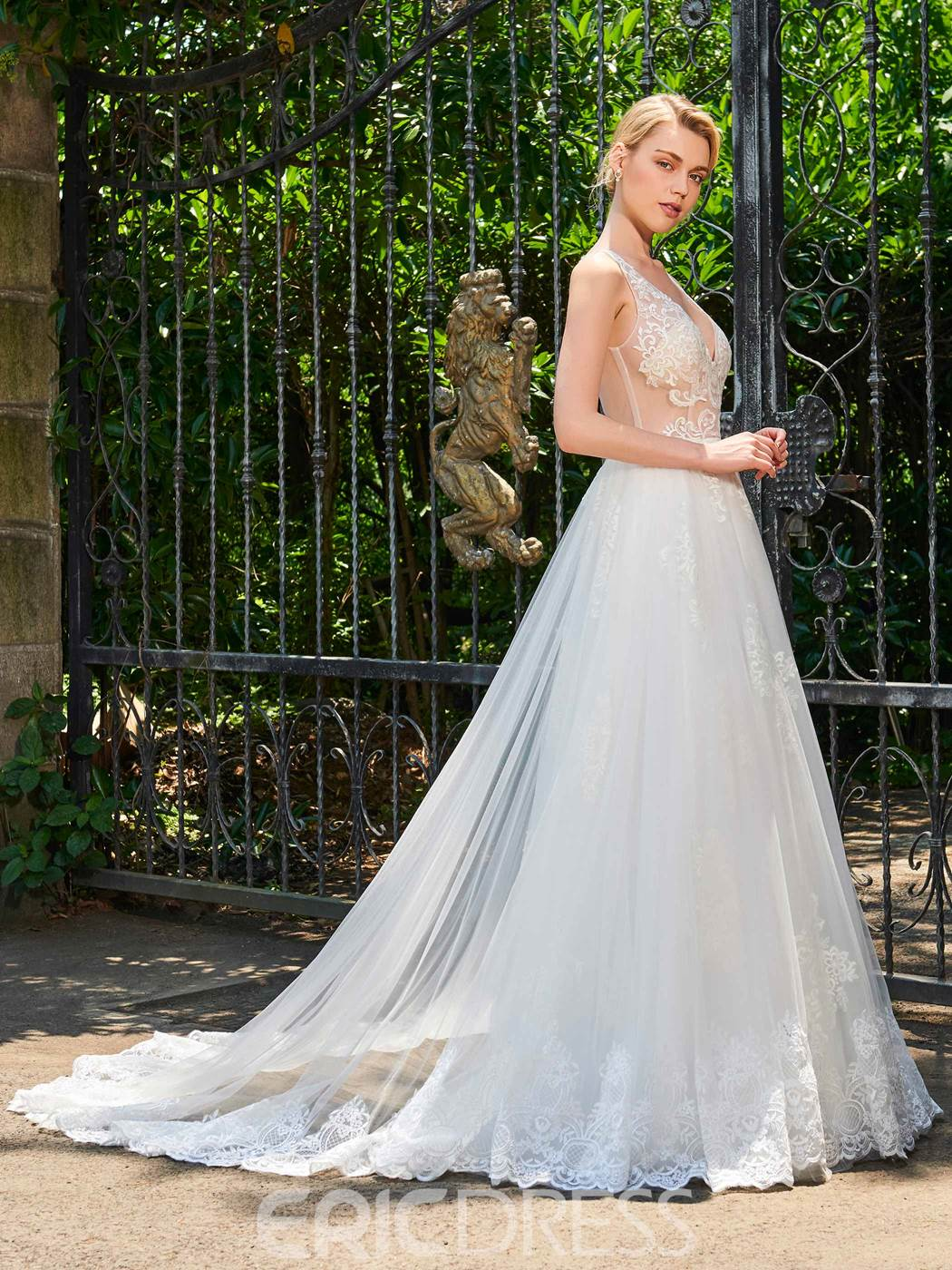 Ericdress Sexy V Neck A Line Appliques Tulle Wedding Dress