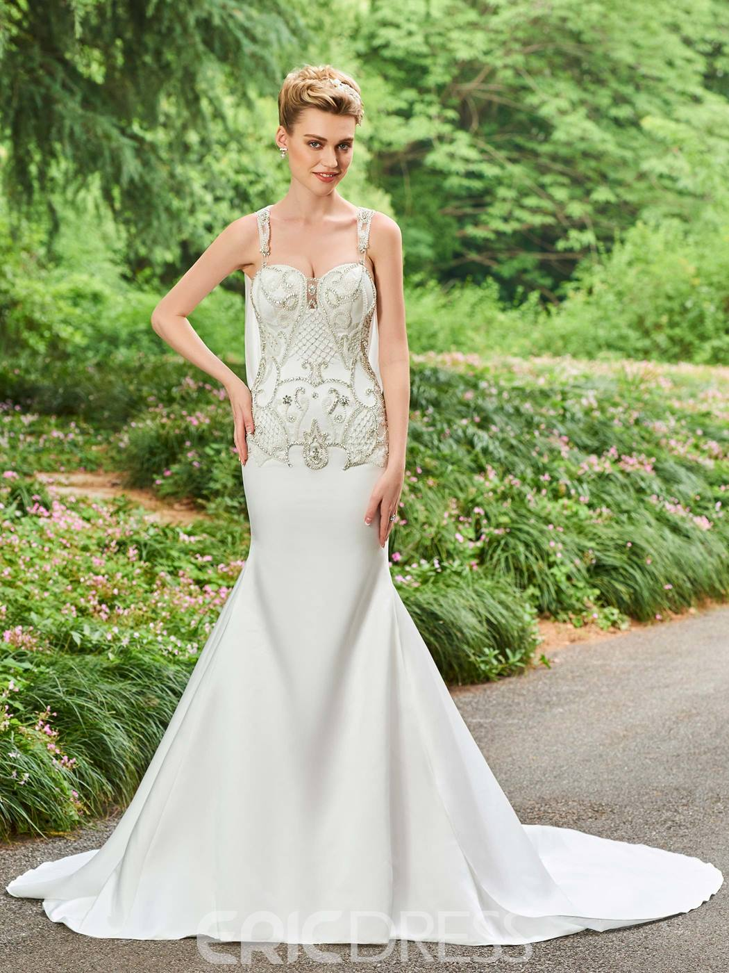Ericdress Straps Mermaid Beaded Backless Wedding Dress