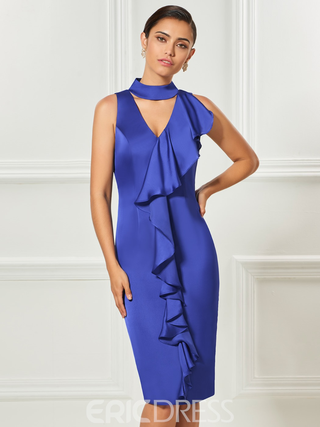 Ericdress Sheath Halter Ruffles Knee Length Cocktail Dress