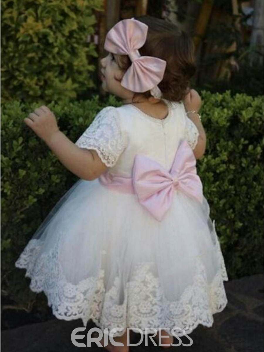 Ericdress Jewel Appliques Knee Length Princess Christening Dress