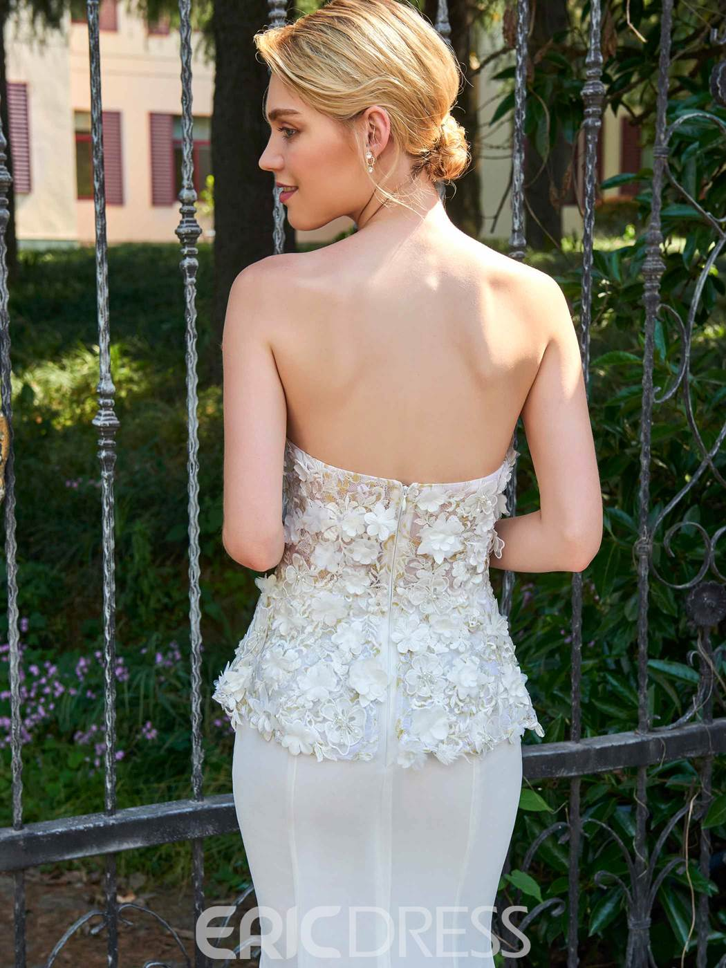 Ericdress Strapless Mermaid Appliques Wedding Dress