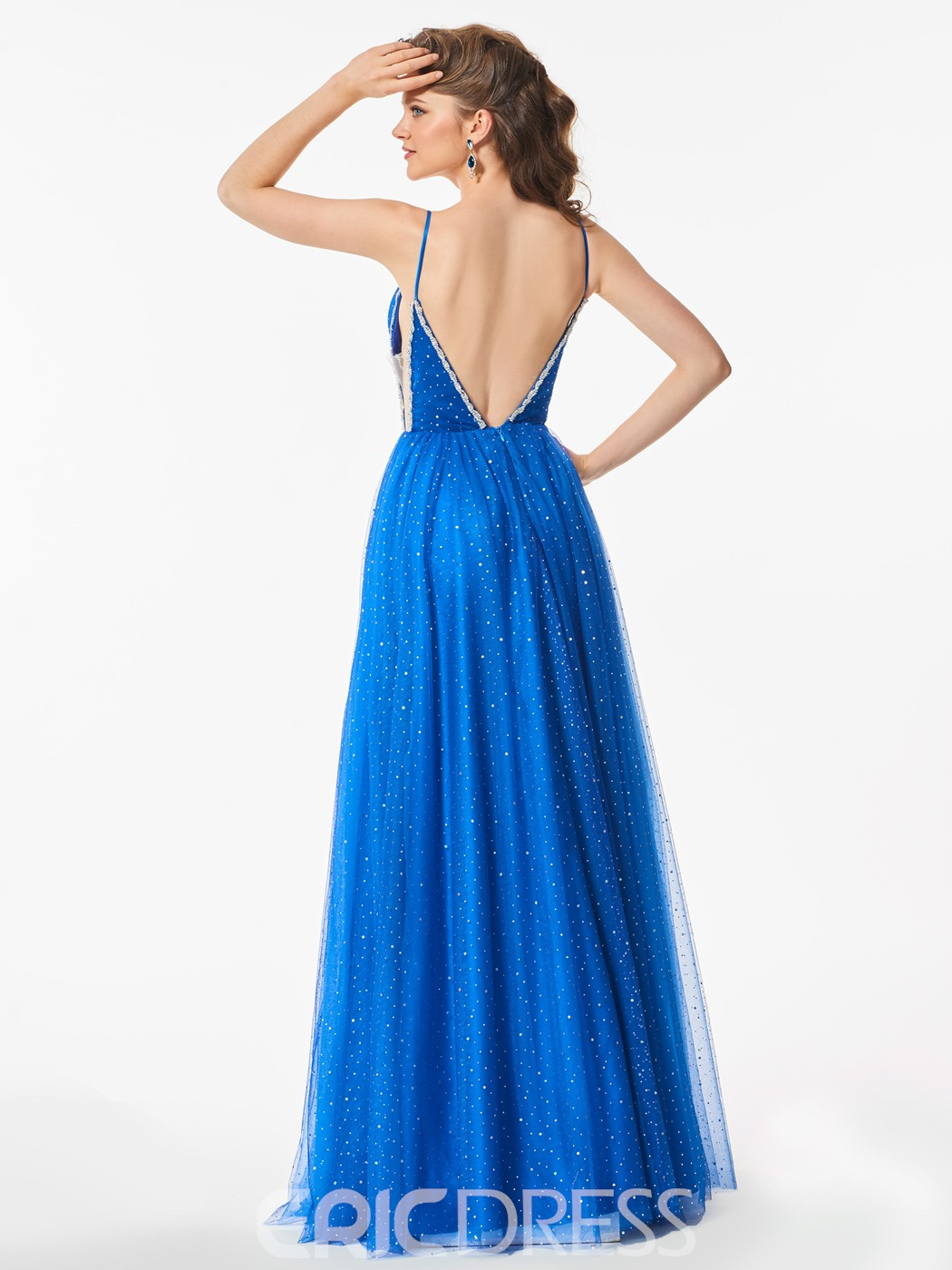 Ericdress A Line Spaghetti Straps Beaded Backless Long Prom Dress