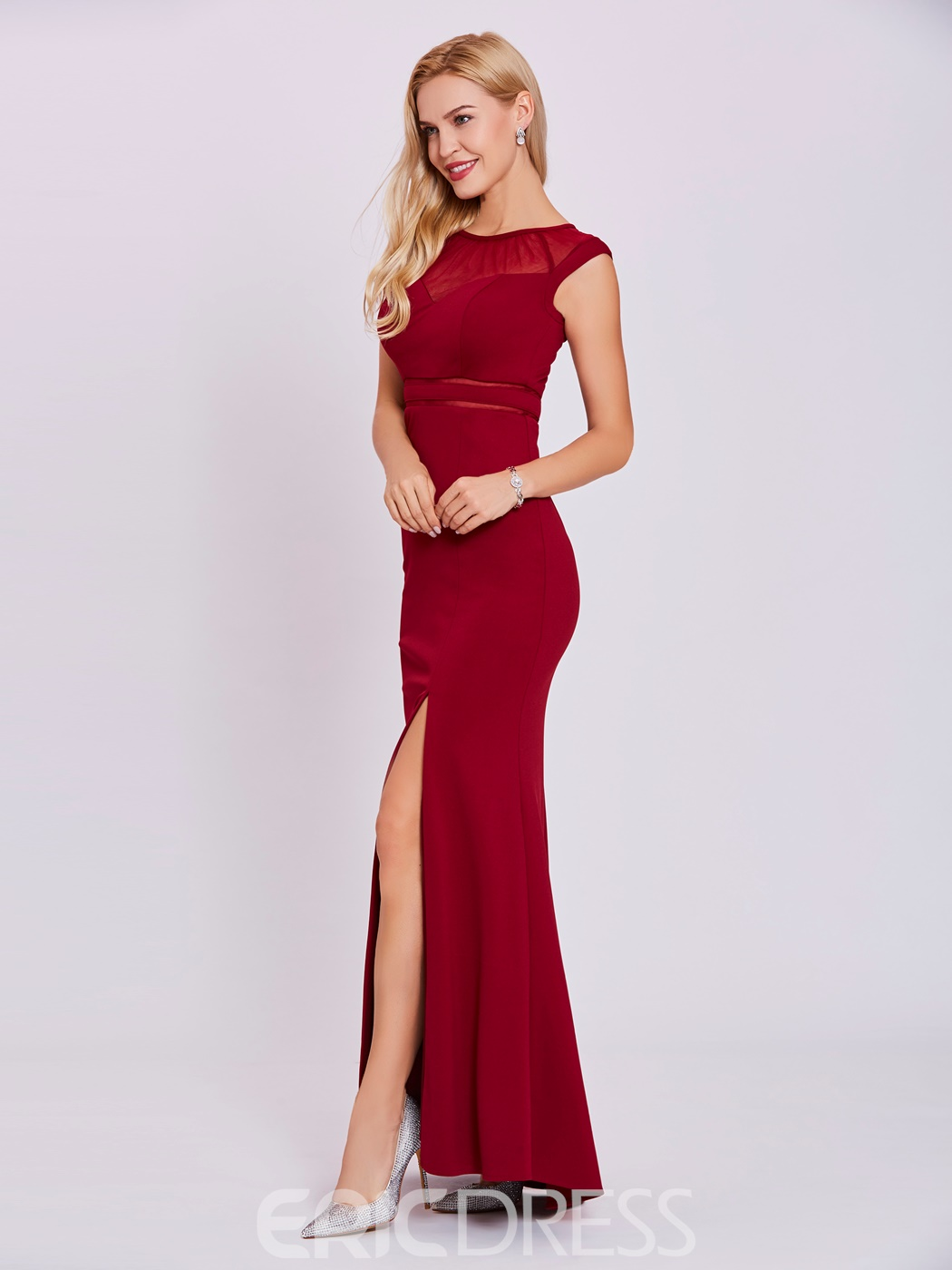 Ericdress Scoop Neck Split-Front Sheath Evening Dress