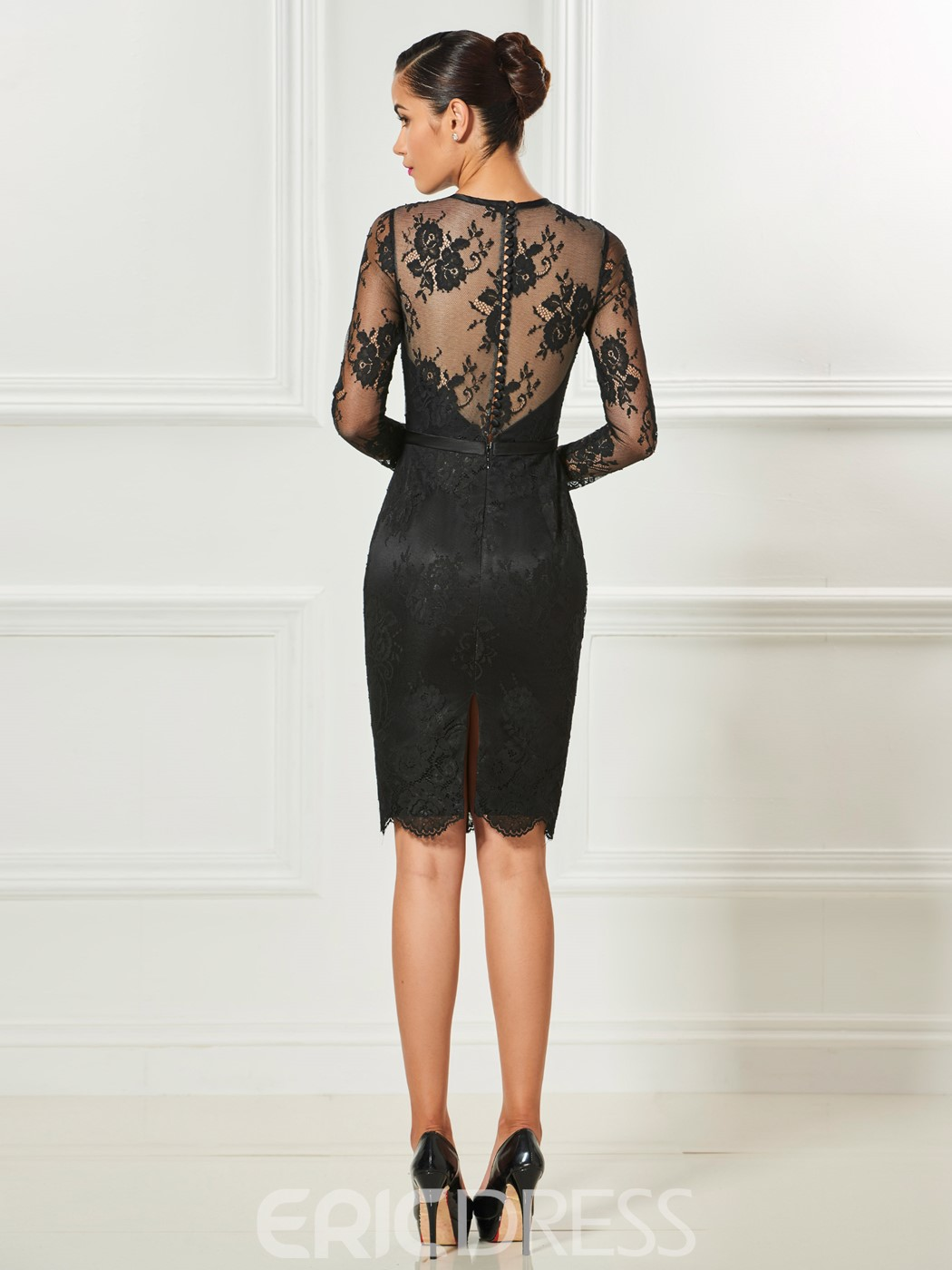 c012452ad ... Ericdress Sheath Long Sleeve Lace Short Cocktail Dress With Button Back  ...