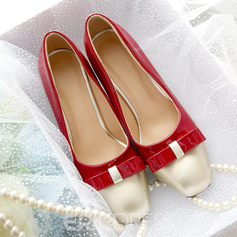 Ericdress Square Toe Color Block Pumps with Bowknot