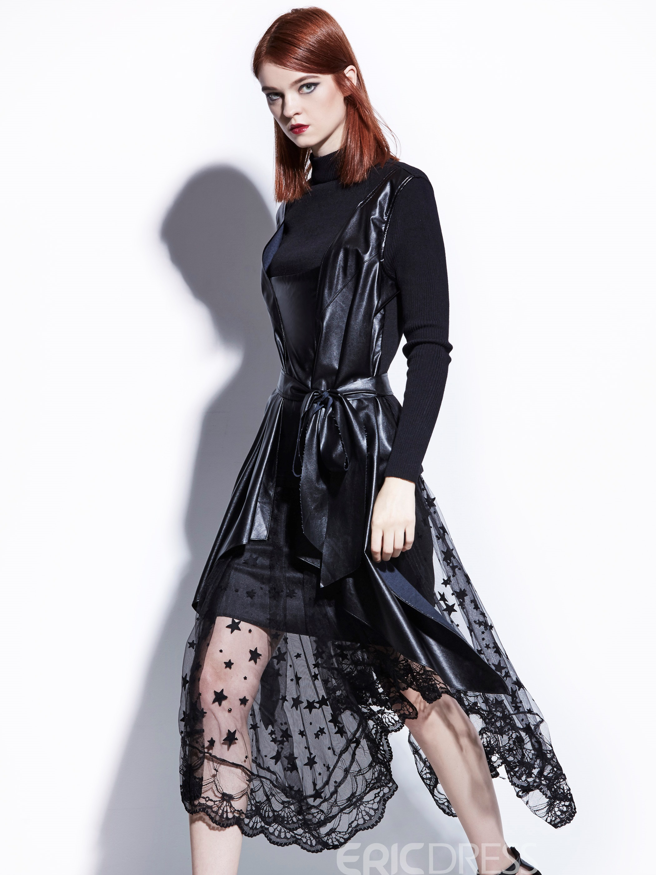 Ericdress Long Sleeves Lace Mesh Patchwork Dress