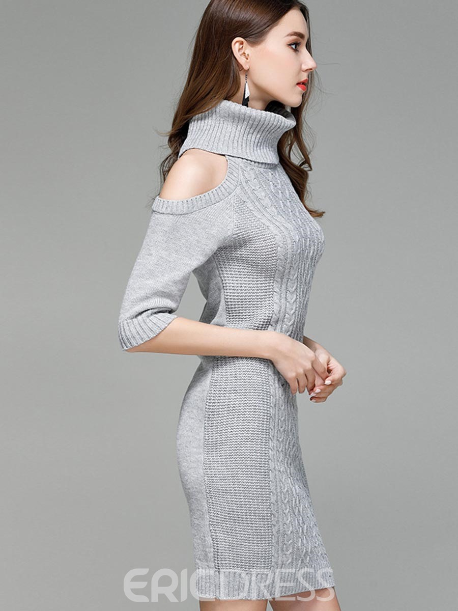 Ericdress High Neck Cold Shoulder Bodycon Sweater Dress