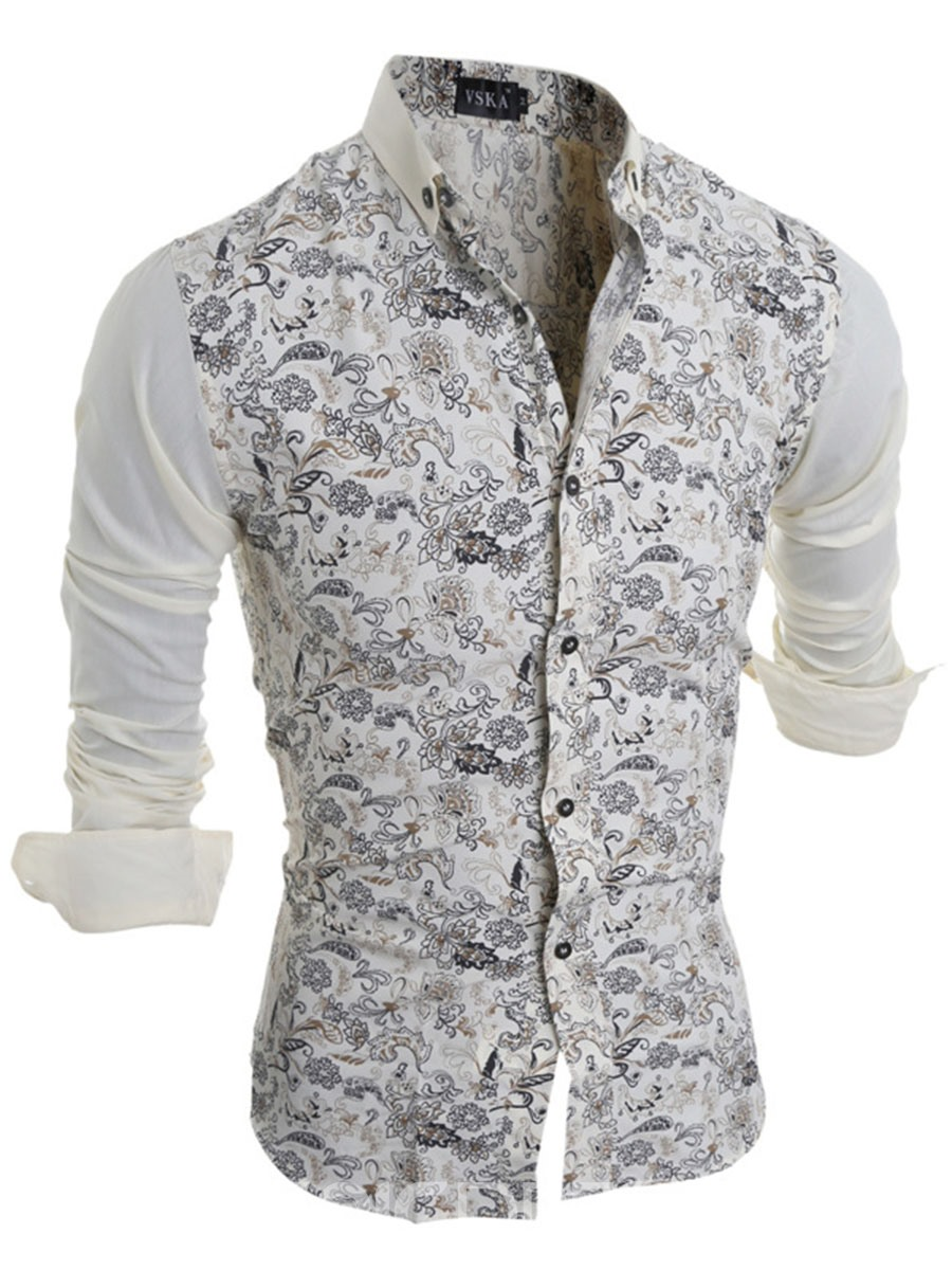 Ericdress Long Sleeve Patchwork Floral Slim Men's Shirt