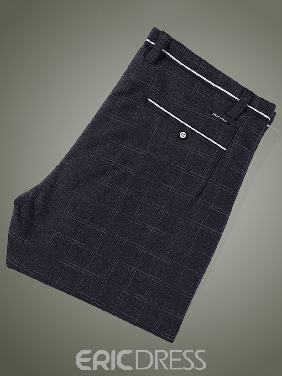 Ericdress Mid-Waist Plaid Pocket Vogue Slim Men's Pants