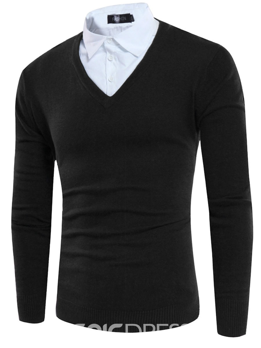 Ericdress Color Block Double-Layer Patched Men's Sweater