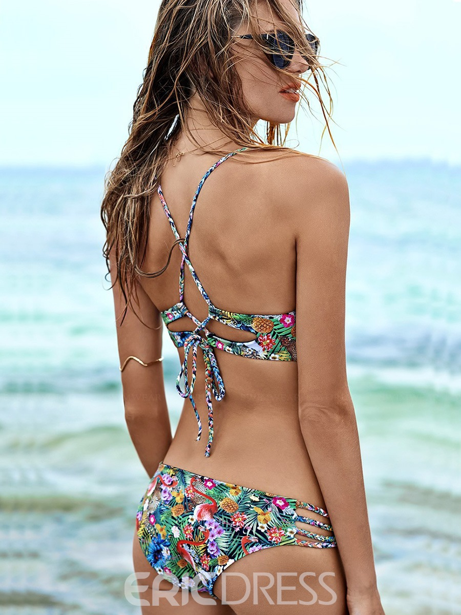 Ericdress Hand-Knit Rope Floral Hollow Bikini Set